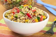 Ingredients: 1 cup/250 g quinoa 3 small bell peppers (capsicum), seeded and diced (I used an orange, a yellow, and a green to make the salad...
