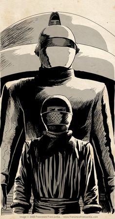 Gort and Klaatu, by Francesco Francavilla Classic Sci Fi Movies, 70s Sci Fi Art, Fractal, Sci Fi Films, Science Fiction Art, Fiction Movies, Classic Monsters, Movie Poster Art, Vintage Comics