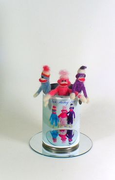 Can of Sock Monkey Soup,  Needle felted Miniature Fiber Art, Soft Sculpture - pinned by pin4etsy.com