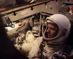 Astronauts David Scott and Neil Armstrong during tests prior to their Gemini 8 space flight.