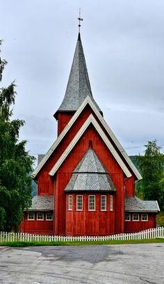 Beautiful red church in Hardanger, Norway.