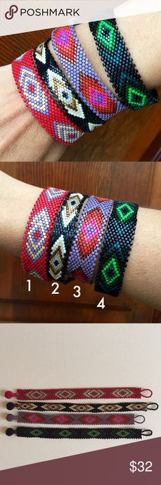 """Awesome Hand Made Bracelets! *Hand Made Braceltes from artisans of Jalisco, Mexico.                                                                          *Huichol Art.                                                                *Made of fine beads.                                                       *Every bracelet is unique.                                          *About 6"""" before brooch.                                               *Price is FIRM Jewelry Bracelets"""