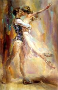 "Anna Razumovskaya Hand Signed and Numbered Limited Edition Artist Embellished Canvas Giclee: ""Love Story 2"""