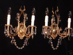 wall lights w/ DRAGON HEAD SCULPTURES PAIR GOTHIC BRONZE & CRYSTAL custom made