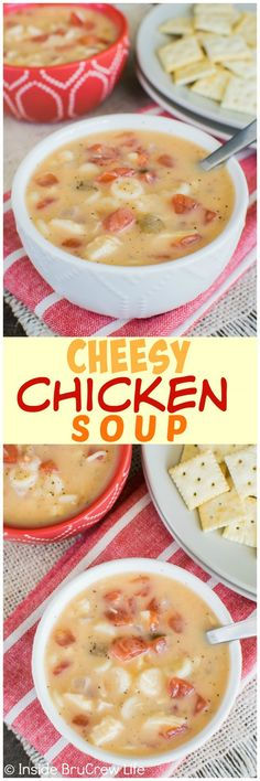 This easy Cheesy Chicken Soup is loaded with veggies & noodles and is ready in under 40 minutes. Great dinner recipe for busy nights.