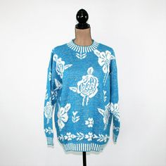 80s Sweater Women Pullover Slouchy Oversized Turquoise Blue