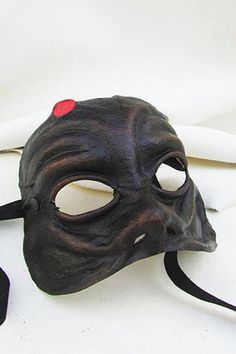 Harlequin mask black dark leather costume larp by MaschereFabula