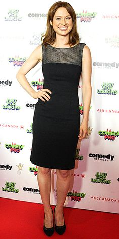 Last Night's Look: Love It or Leave It? Vote Now!   ELLIE KEMPER   in a chic LBD, black pumps and diamond stud earrings at the Just For Laughs Festival in Montreal.