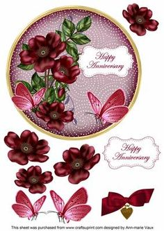 I have designed this topper to make a 7in topper for your cards, this is a circle shape and it will fit on a 7inch square card or trim the square card and round the corners for effect. The toppers are complete with decoupage and will look fabulous when you have made them. Use 3D foam or silicone glue for the decoupage pieces to give them alittle height for the layers. Please check the multi link for other colours, and other sentiments are available. Matching Envelopes start at cup615673_10…