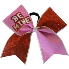 Valentines Day Cheer Bow Be Mine ($10) ❤ liked on Polyvore featuring accessories, hair accessories, silver y ties & elastics