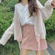 Korean Cute Sweet Girl Long Sleeve Bow Long Stitching Strap Pink Sweater Jacket Cream Cardigan sold by sugarplum. Korean Girl Fashion, K Fashion, Ulzzang Fashion, Kawaii Fashion, Cute Fashion, Fashion Outfits, Pastel Fashion, Fashion Hacks, Lolita Fashion