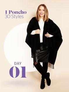 Unsere Stylight Challenge: 30 Tage Poncho tragen - aber immer anders kombiniert. Hier mit Lederrock und Overknee-Stiefeln.
