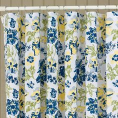 """Brighten any room with the hue of sunshiney buttercupyellowmixed with blue, taupe and grey on a creamy white background! So pretty with its light and airy design! Buttercup Shower Curtain,  72"""" x 72"""" 100% cotton Dry Cleaning recommended"""