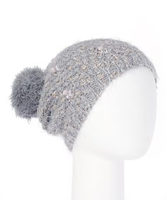 Love this Betsey Johnson Gray Gemmeration Pom-Pom Beanie by Betsey Johnson on #zulily! #zulilyfinds