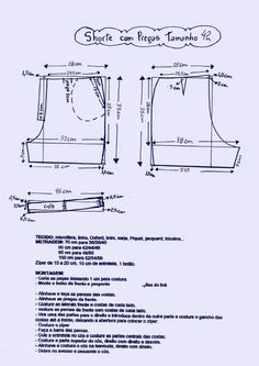 Moldes Sewing Pants, Sewing Clothes, Diy Clothes, Diy Shorts, Sewing Patterns Free, Clothing Patterns, Diy Pantalones Cortos, Underwear Pattern, E 38