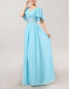 Excellent Column/ Sheath Cap Sleeves Chiffon V-Neck Floor Length Mother of the Bride/ Groom Dresses