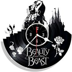 Beauty and the Beast vinyl wall clock - great gift for birthday, anniversary or any other occasion - beautiful home decor - unique design that made out of retro vinyl record