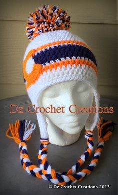 Denver Colorado Broncos inspired ear flap beanie.  dzcrochetcreations at gmail dot com or on Facebook at Facebook dot Dzcrochetcreations2