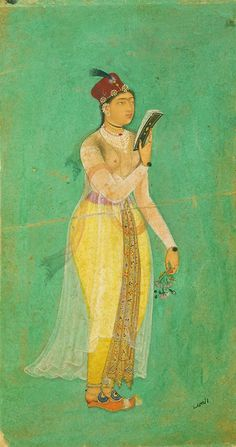 Court Lady ca. 1620  Bishandas  Mughal dynasty  Reign of Jahangir  Opaque watercolor, ink and gold on paper H: 10.8 W: 6.1 cm  India