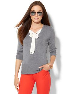 Shop 7th Avenue Design Studio - Tie-Neck Twofer Sweater. Find your perfect size online at the best price at New York & Company.