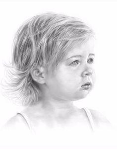 great pencil portrait of little girl