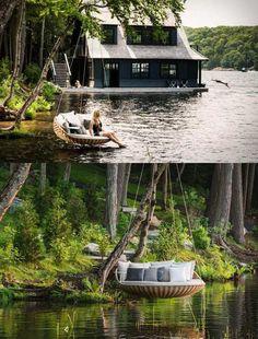 Un bord de lac idéal pour installer ce Swingrest