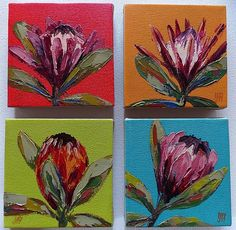 Cape Floral Kingdom by Yvonne Ankerman Protea Art, Tea Bag Art, Acrylic Painting Lessons, South African Artists, Canvas Art, Small Canvas, Plant Painting, King Art, Abstract Flowers
