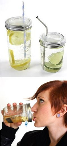 Turn any Mason Jar into a Travel Mug with this drink top. Can be used with a straw or without!