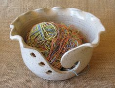 MADE TO ORDER - Yarn Bowl with Hearts - Knitting Organizer - Handmade Pottery