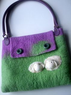 Felted Bag sheep purple and green wool  Etsy.