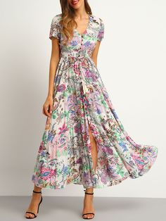SheIn Multicolor Floral Print Button Split Front Flare Beach Wear Boho Maxi Dress Women Short Sleeve V Neck Long Dress(China (Mainland)) Pretty Dresses, Beautiful Dresses, Dress Skirt, Dress Up, Slit Dress, Barbie Dress, Smock Dress, Women's Clothes, Boho Dress