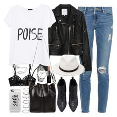 """""""Outfit with a leather jacket"""" by ferned ❤ liked on Polyvore featuring Frame Denim, Zara, MANGO, La Perla, Yves Saint Laurent, rag & bone, Casetify, Forever 21, Monica Vinader and Topshop"""