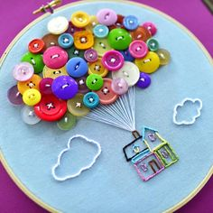 House with Balloons Hand Embroidery Hoop Art - Hand Embroidery Stitches Creative Embroidery, Hand Embroidery Stitches, Embroidery Hoop Art, Hand Embroidery Designs, Embroidery Patterns, Hungarian Embroidery, Embroidery Jewelry, Crewel Embroidery, Applique Designs