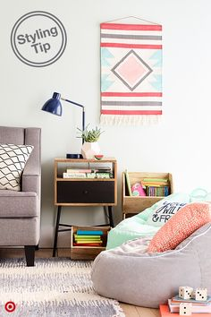 Add stylish and playful whimsy to any room or corner with Pillowfort's cute beanbags and storage options—the pops of color and comfy designs make it easy to create a space the whole family will love. A woven wall hanging helps blend adult and kid spaces and the stackable wooden storage keeps toys organized.