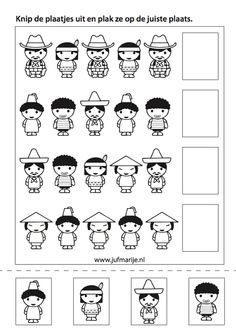 werkblaadje:zoek het juiste prentje Around The World Theme, People Around The World, Around The Worlds, Bible Story Crafts, Bible Stories, Preschool Worksheets, Preschool Activities, Math Patterns, World Crafts