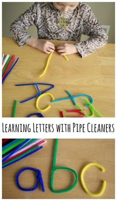 Were using pipe cleaners to form learning letters today. It's the perfect activi… Were using pipe cleaners to form learning letters today. It's the perfect activity for little ones learning the alphabet and beginning reading skills! Motor Skills Activities, Toddler Learning Activities, Preschool Learning Activities, Letter Activities, Preschool Lessons, Teaching Kids, Kids Learning, Preschool Letters, Learning Spanish