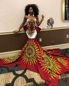 African prom dress, African clothing for women, Ankara gown, African gown, African maxi dress Angolan supermodel Maria Borges spotted in an over the knee mini flare dress with open back AND HALTER NECK details by designer Claude Kameni of Lavie by CK African Dresses Plus Size, African Dresses For Kids, African Maxi Dresses, African Wedding Dress, African Attire, Ankara Gowns, African Weddings, Dress Wedding, Ankara Clothing