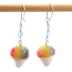 Rainbow snow cone earrings by inediblejewelry