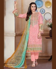 Light pink pant style suit with printed dupatta   1. Light pink lawn cotton suit2. Comes with matching bottom and dupatta3. Can be stitched upto bust size 42 inches