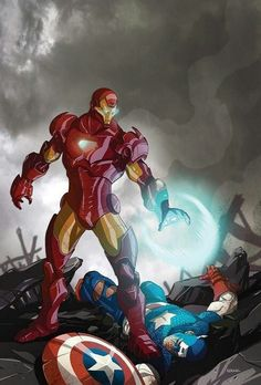 Iron Man vs Captain America- Looks like Tony has the upper hand in this picture