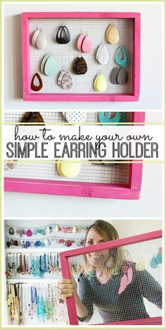 Simple Earring Holder - Sugar Bee Crafts - how to make your own diy simple earring holder for jewelry – I really LOVE this, fun organization - Diy Earring Holder, Diy Jewelry Holder, Earring Storage, Homemade Earring Holders, Diy Jewelry Organizer, Earing Organizer, Earring Display, Jewelry Storage, Diy Jewelry To Sell