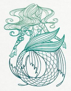 Maiden of the Ocean - machine or hand embroidery pattern by Urban Threads