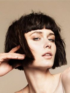 Straight Bob Hair Cut with Blunt Bangs