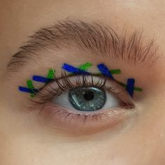 A fun unusual green and cobalt blue eyeliner look with a natural bushy eyebrow - creative, artistic and editorial eye makeup art - eye makeup for blue eyes Creative Eye Makeup, Eye Makeup Art, Blue Eye Makeup, Blue Eyeliner Looks, Bushy Eyebrows, Cobalt Blue, Blue Eyes, Makeup Looks, Editorial