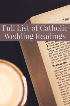 Full list of the options for Catholic Wedding Readings: Old Testament, Psalms, New Testament, and Gospel readings. Scripture Readings For Weddings, Catholic Wedding Readings, Catholic Wedding Dresses, Church Readings, Wedding Scripture, Catholic Marriage, Wedding Ceremony Readings, Catholic Bible, Mass Readings