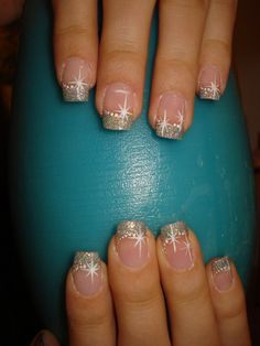 glitter french with stars