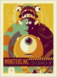This Monsters Inc. poster design Credits: Monsters Inc. Poster Design by (©) Tom Whalen. Disney Vintage, Retro Disney, Art Disney, Disney Movies, Disney Pixar, Pixar Movies, Art Movies, Pixar Art, Modern Disney