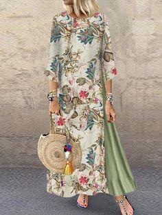 Women Summer Boho Floral O Neck Long Sleeve Maxi Dress Ladies Casual Loose Dress Oversized Kaftan Beach Sundress, Green / XXL Vestido Maxi Floral, Floral Tunic, Floral Gown, Maxi Dress With Sleeves, Long Sleeve Maxi, Shirt Dress, Plus Size Vintage, Vestidos Vintage, Themed Outfits