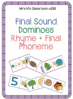 End Sounds - Dominoes --- This is the full version of end sound dominoes.  This is a great literacy center or guided reading rotation activity. Students match the end sound of one domino to another. There are two sets in this file to help differentiate between ability levels in the class.  Learning Goals: - Identify the end sound in common words - Develop letter sound recognition