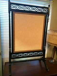 Antique Black Lacquer Oriental Screen with  Gold Fabric